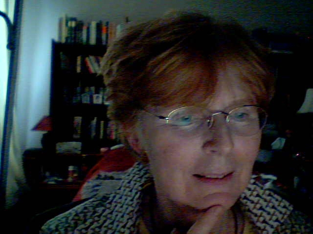 Webcam image of thoughtful Welwyn with bookshelf in background